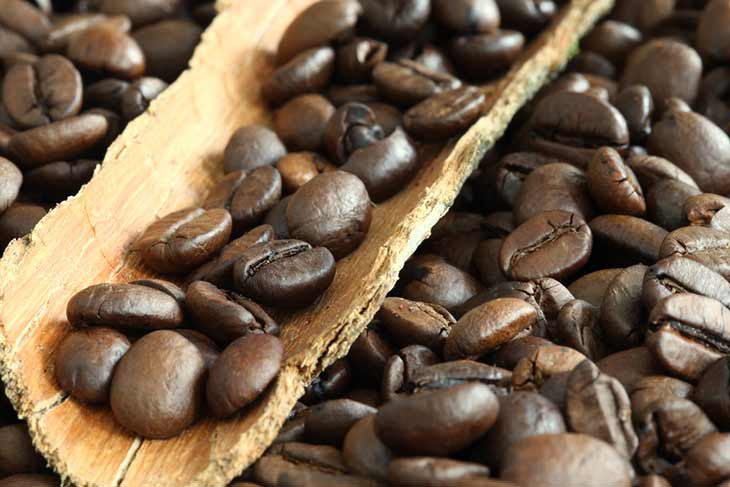 coffee beans close up wooden scoop