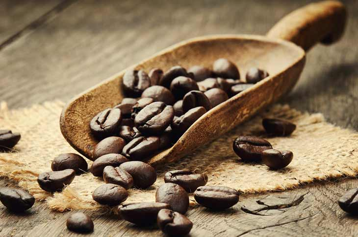 scoop of coffee beans