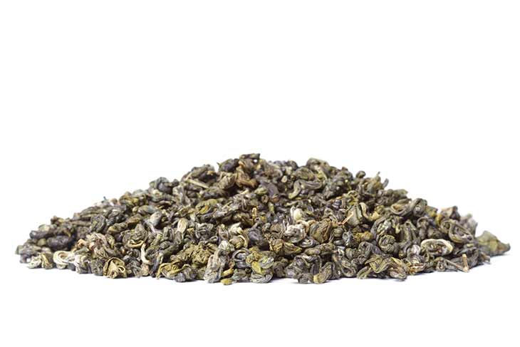 pile of green tea leaves