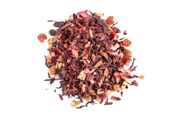 pile of red herbal infusion tea leaves