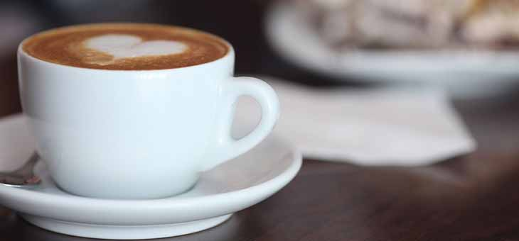 Coffee cup love heart froth