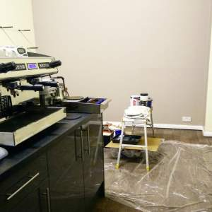 Barista-Training-Room-Decorate-Decorating-Feb-2018-Painting-DIY-training-room-roastery-pollards-paint-neautral