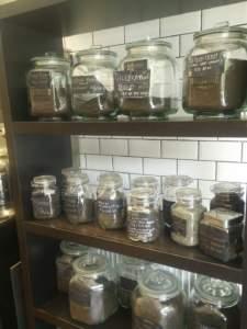 Pollards-Coffee-Ecclesall-Road-Tea-Loose-Leaf-Stock-glass-jars-organised-wooden-Shelves-July-2018